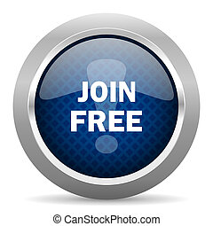 join free blue circle glossy web icon on white background, round button for internet and mobile app