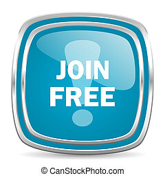 join free blue glossy icon