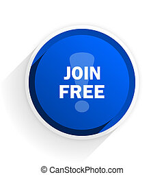 join free flat icon with shadow on white background, blue modern design web element