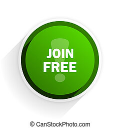 join free flat icon with shadow on white background, green modern design web element