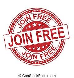 Join free grunge rubber stamp, vector illustration