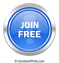 join free icon, blue button