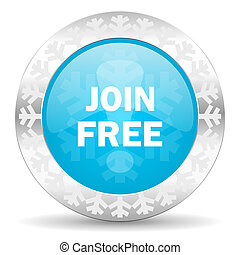 join free icon, christmas button