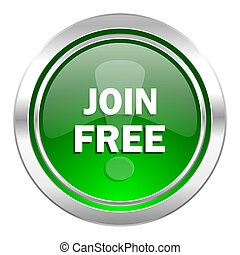 join free icon, green button