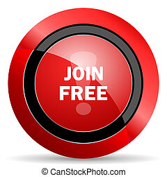 join free red glossy web icon