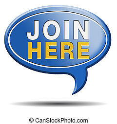 join here icon - Join today and register here and now banner...