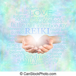 Female hands cupped with the word 'Reiki' floating above, surrounded by a relevant healing word cloud on a misty sparkling ethereal blue energy background