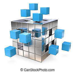Metal Cube assembly with loose Blue Cubes. 3D render.