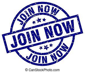 join now blue round grunge stamp