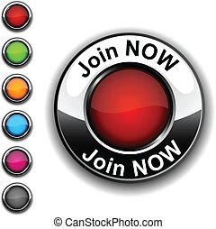 Join now button. - . Join now realistic button. Vector.  .