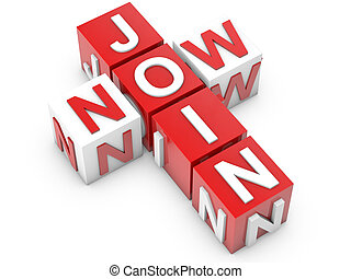 Join Now Cubes over white Background