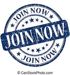 Join now grunge blue round stamp