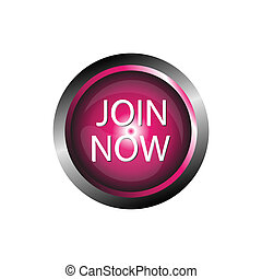 Join now icon glossy pink button
