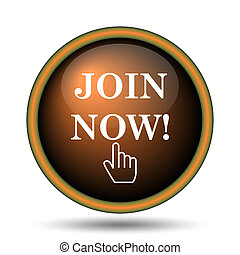 Join now icon. Internet button on white background.