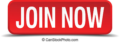 Join now red 3d square button isolated on white