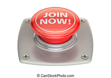 Join Now Red button, 3D rendering