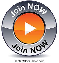 Join now round button. - .. Join now round metallic button....