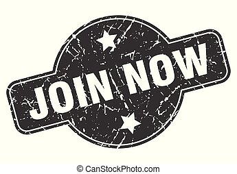 join now round grunge isolated stamp