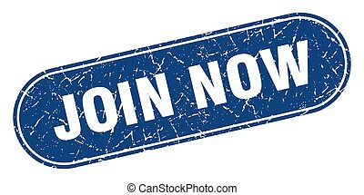 join now sign. join now grunge blue stamp. Label