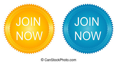 Join now stickers on the white background