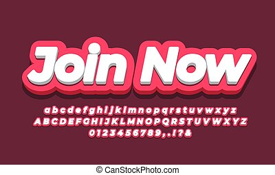 Join Now text  3d pink design