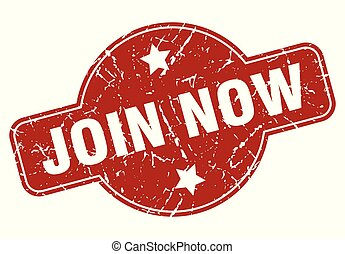 join now vintage stamp. join now sign