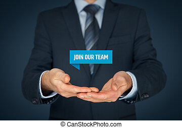 Join our team concept. Headhunter (recruiter) hold virtual...
