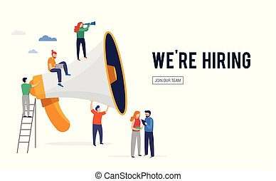Join our team, we are hiring image, concept vector illustration of a group of young people with giant speech bubbles
