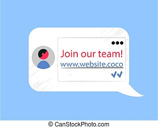 Join our Team, Website Chat Bubble Company Info