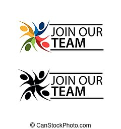 Join our team with people icon. Flat vector illustration on white background