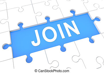 Join - puzzle 3d render illustration with word on blue...