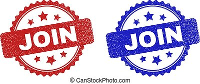 Rosette JOIN stamps. Flat vector scratched stamps with JOIN phrase inside rosette shape with stars, in blue and red color versions. Rubber imitations with scratched surface.