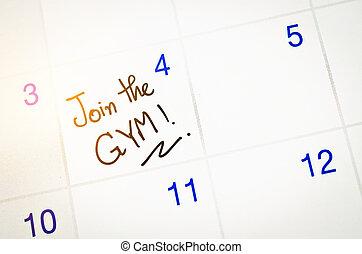 Join the Gym word on calendar.