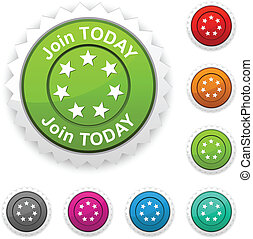 Join today award button. Vector.