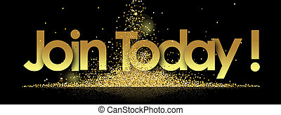 join today in golden stars and black background