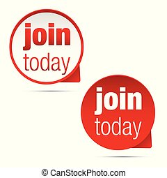 Join Today label sign vector