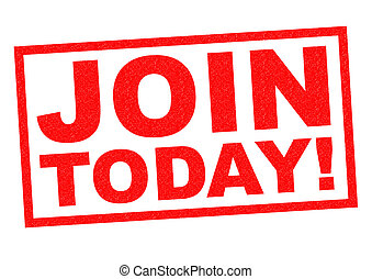 JOIN TODAY! red Rubber Stamp over a white background.
