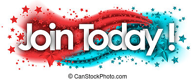 join today word in stars colored background