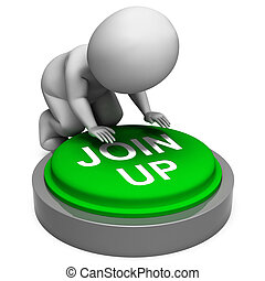 Join Up Button Meaning Group Membership Or Subscription