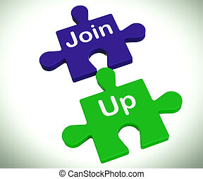 Join Up Puzzle Means Membership Or Registration