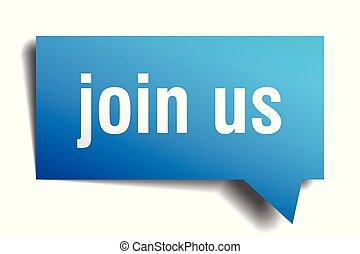 join us blue 3d speech bubble - join us blue 3d square...