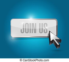 join us button and cursor sign concept illustration design ...