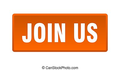 join us button. join us square orange push button