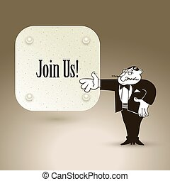 Join us, cartoon concept abstract business