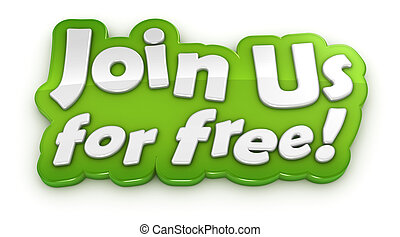 Join us for free text banner on white background
