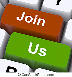 Join Us Keys Meaning Membership Or Subscription
