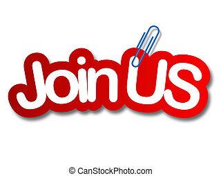 join us label in white background and paper clip