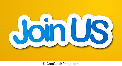 join us label in yellow background