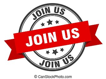 join us label. join us red band sign. join us