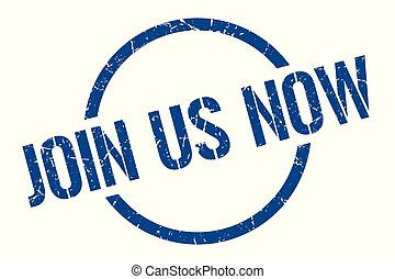 join us now stamp - join us now blue round stamp
